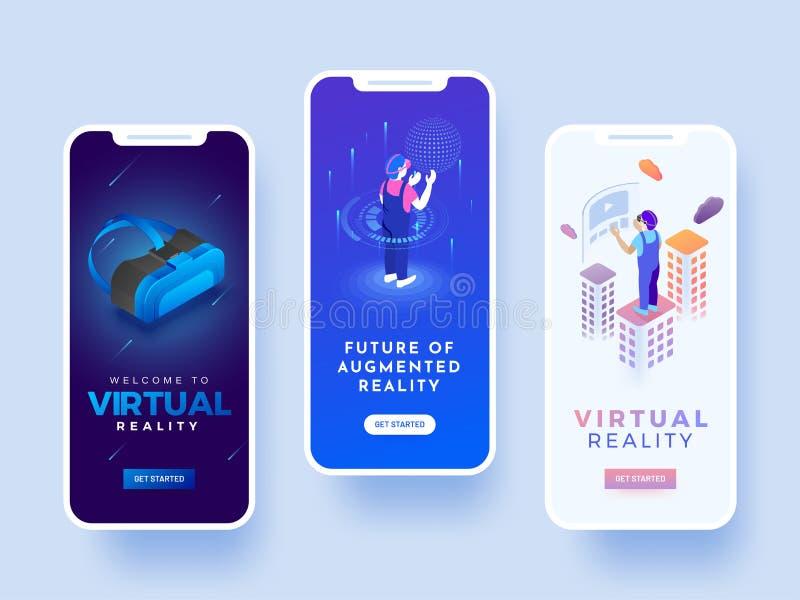 Färgstänkskärm för andriodmobil eller website för virtuell verklighet stock illustrationer