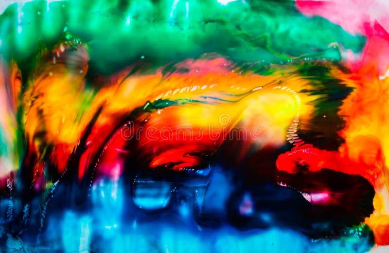 Färgstark, abstrakt målningsbakgrund Färg på högtexturerad olja Information av hög kvalitet Modern abstrakt målning med alkoholbl arkivbild