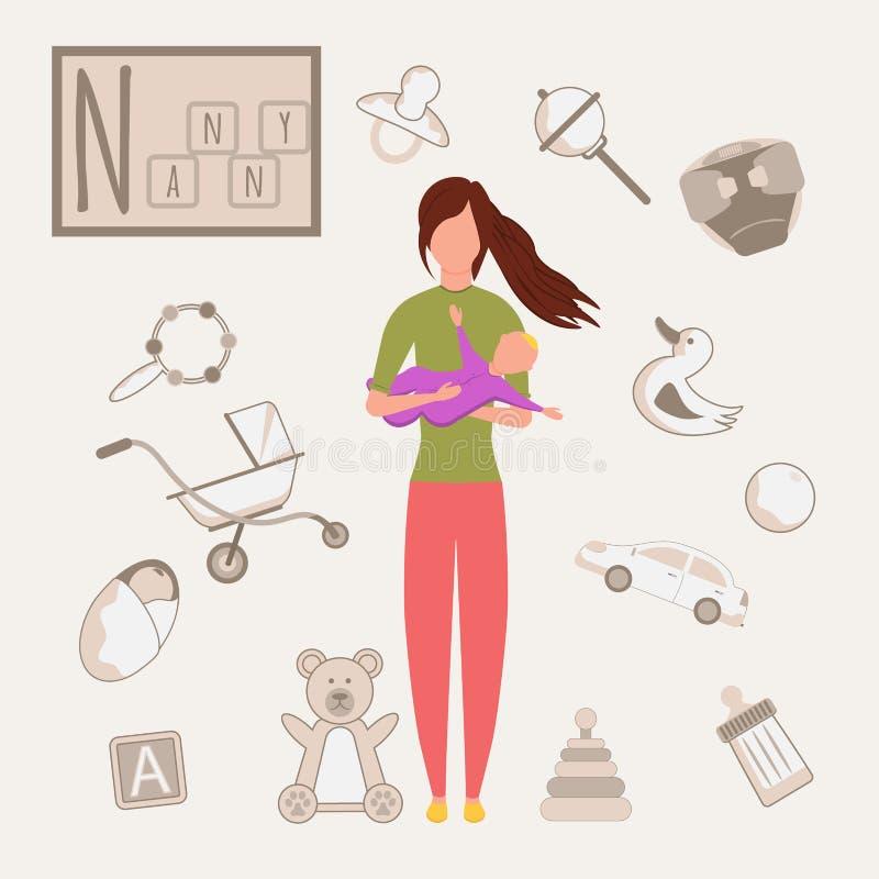 Färgstarkt alfabet för vektor Yrkesbok Professionell Nanny Bokstaven N stock illustrationer