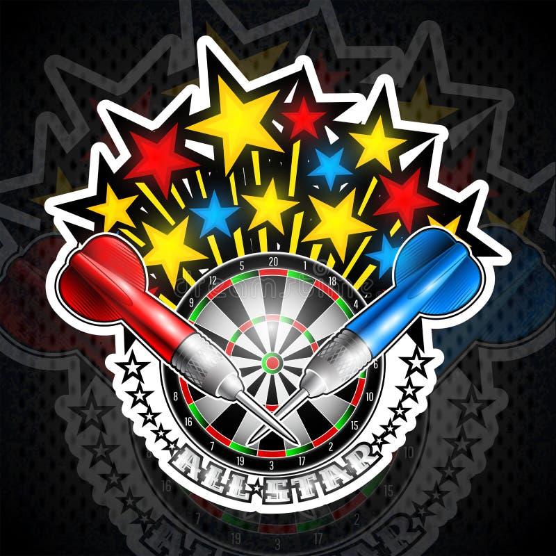 Färgstjärnor som flaing ut från darttavla med röda och blåa pilar Sportlogo för någon pillek eller mästerskap stock illustrationer