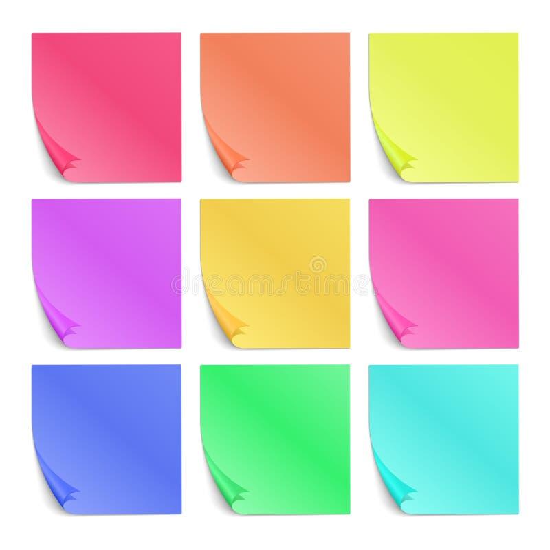 Färgstolpe som dess pappers- klistermärkear för anmärkningsvektor ställde in royaltyfri illustrationer