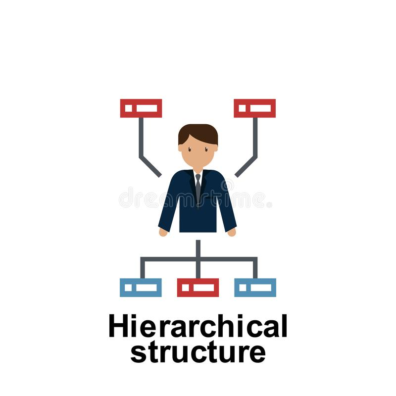 Färgsymbol för hierarkisk struktur Best?ndsdel av aff?rsillustrationen H?gv?rdig kvalitets- symbol f?r grafisk design underteckna stock illustrationer