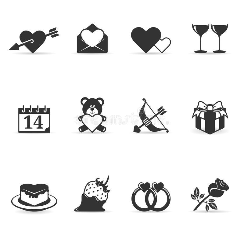 färgsymboler älskar enkelt royaltyfri illustrationer
