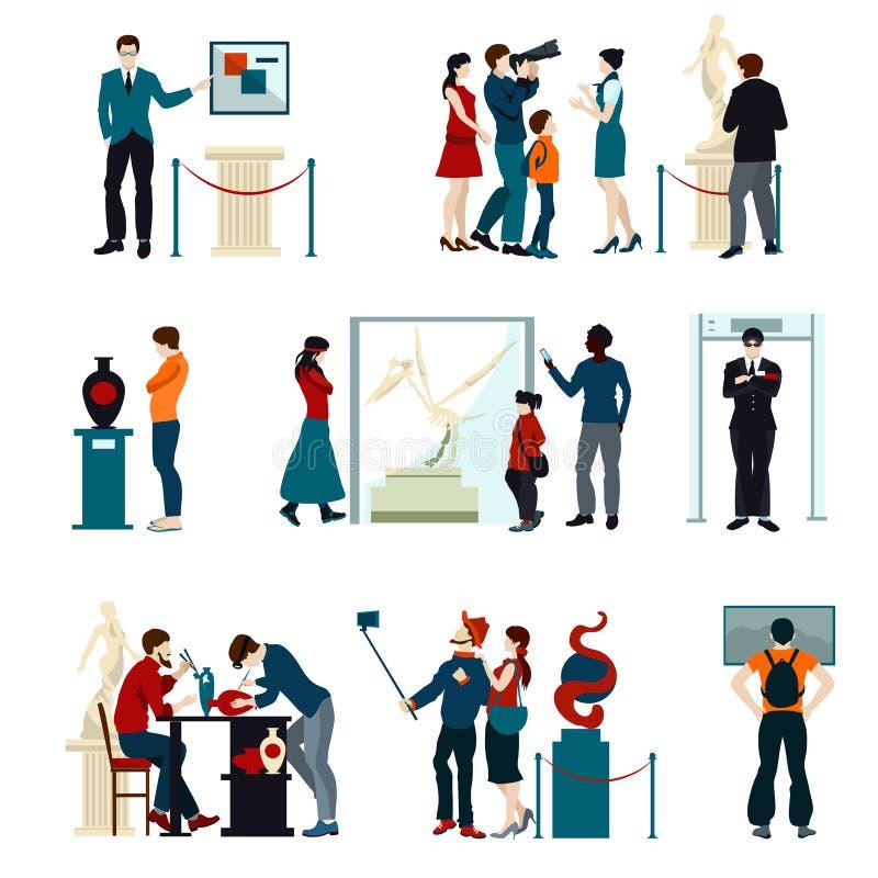Färgsymbolsuppsättning av folk som besöker utställning vektor illustrationer