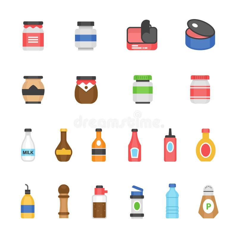 Färgsymbolsuppsättning - ketchup vektor illustrationer