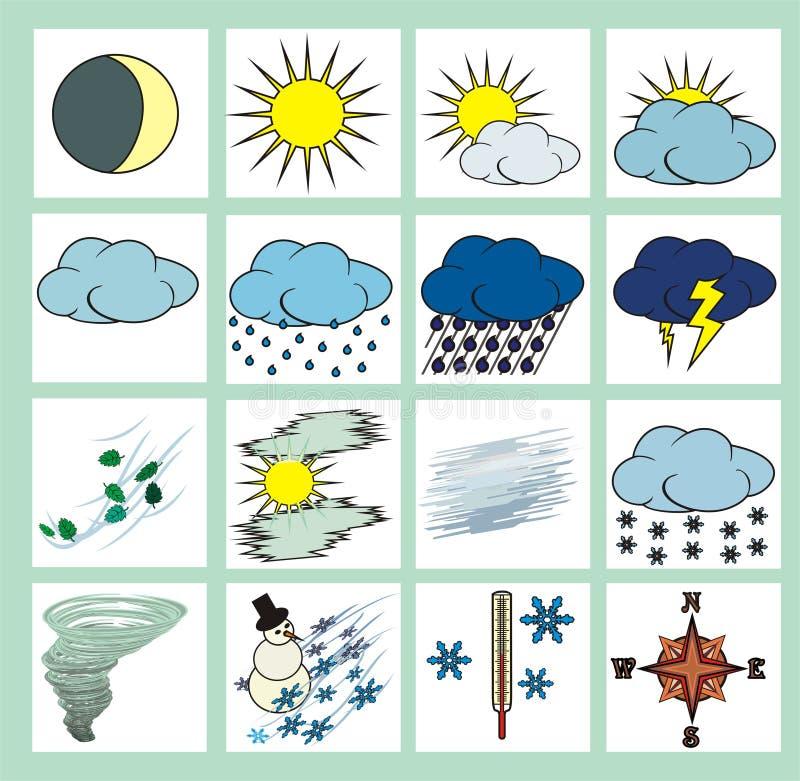 färgsymbolsväder stock illustrationer