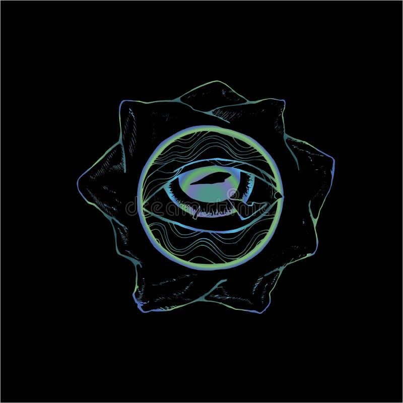 Färgteckning av ögat som inskrivas i en cirkel av modellen och berg Id? f?r en tatuering vektor illustrationer
