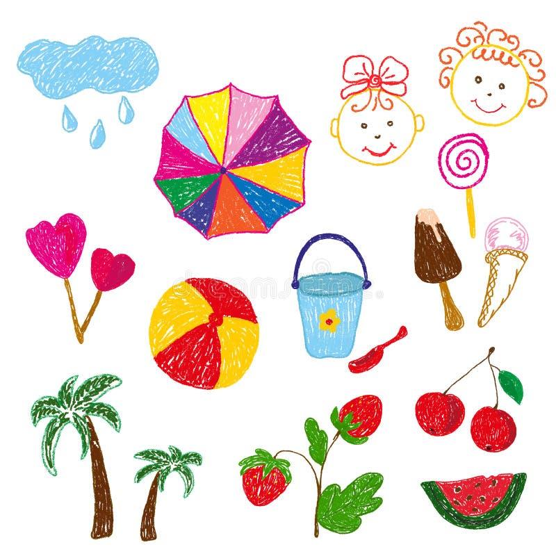 Färgteckningar för barn s med blyerts och krita på temat av sommar Isolerade best?ndsdelar p? vit bakgrund vektor illustrationer