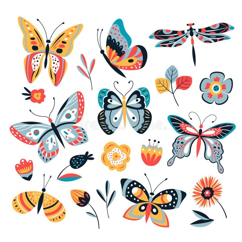 Färgteckningsfjäril Fjärilar mal och blommor Samling för tappningkrypvektor vektor illustrationer