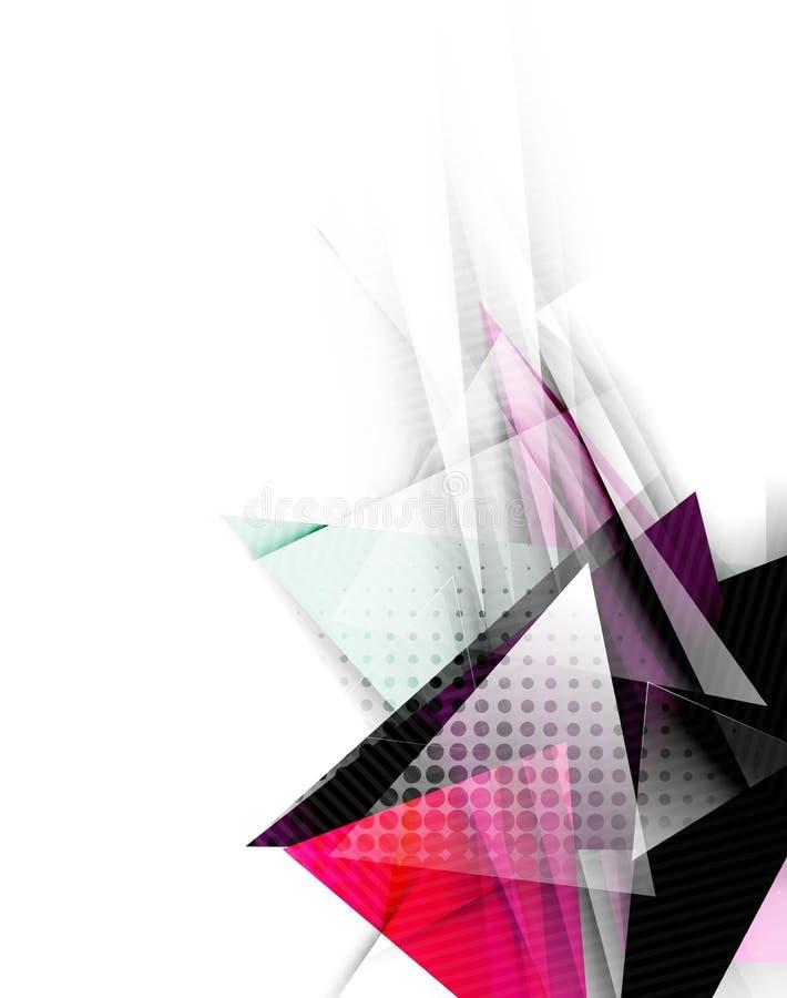 Färgtrianglar, ovanlig abstrakt bakgrund stock illustrationer