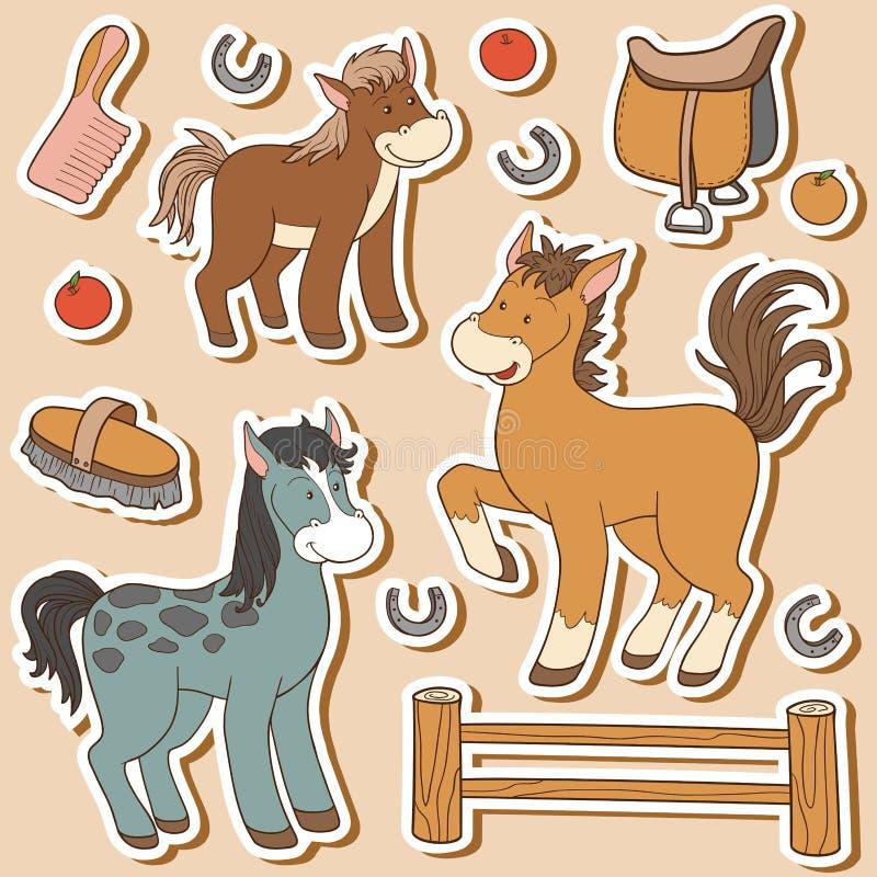 Färguppsättning av gulliga lantgårddjur och objekt, vektorhästar stock illustrationer
