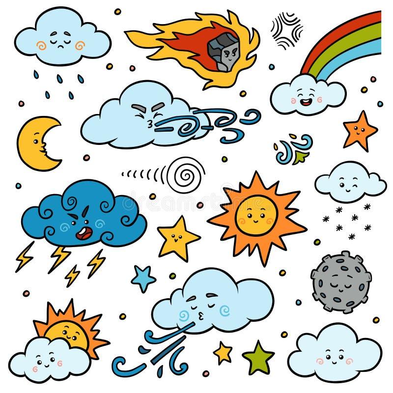 Färguppsättning av naturobjekt Vektortecknad filmsamling av vädersymboler royaltyfri illustrationer