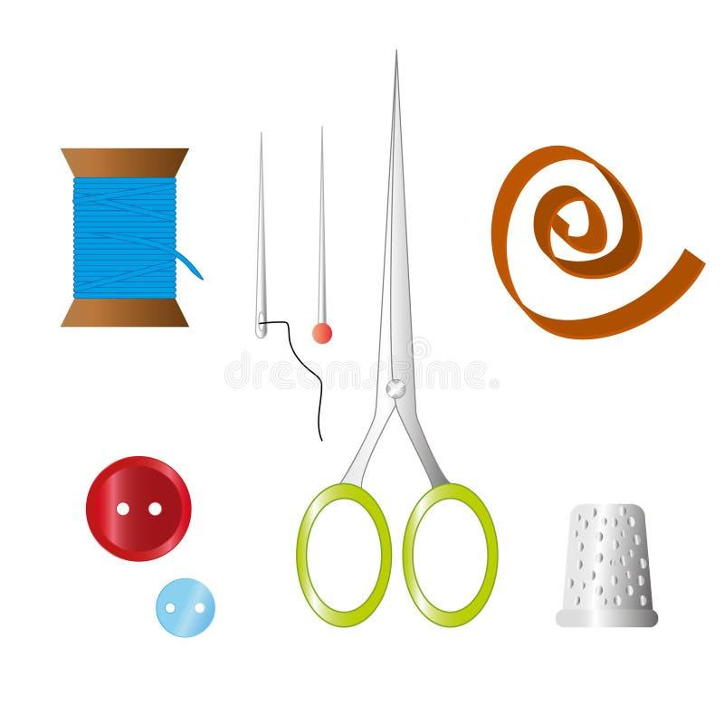 Färguppsättning av objekt för att sy, hemslöjd Sy hjälpmedel och sömnadsatsen, sömnadutrustning, visare, sömnadstift, sax royaltyfri illustrationer