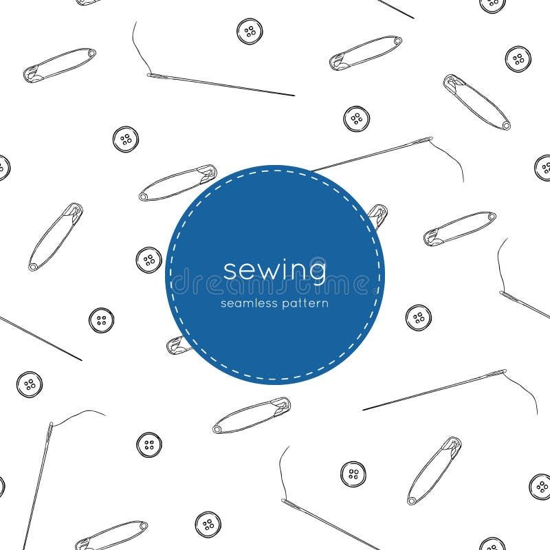 Färguppsättning av objekt för att sy, sömlös modellvektor royaltyfri illustrationer