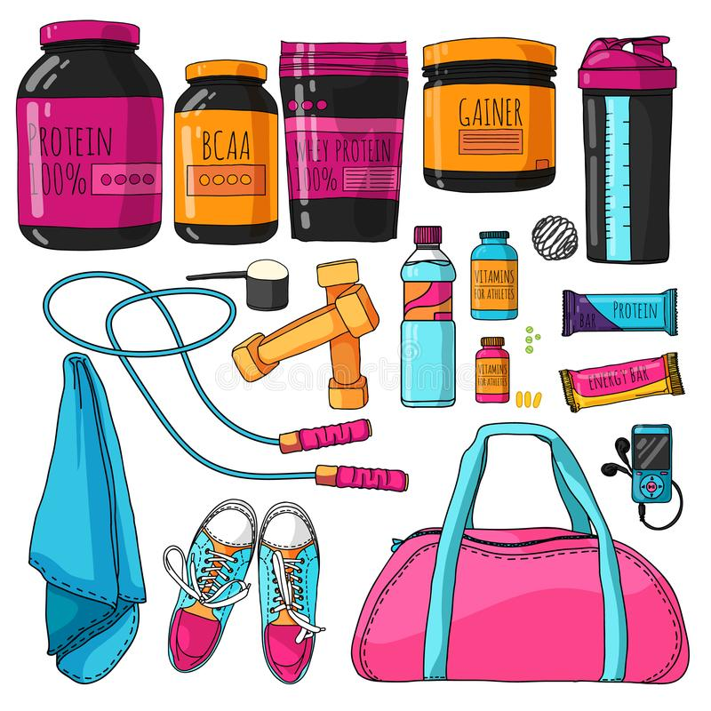 Färguppsättning av saker för kondition- och sportnäring En uppsättning med ett protein, en shaker, vitaminer och proteinstänger s royaltyfri illustrationer