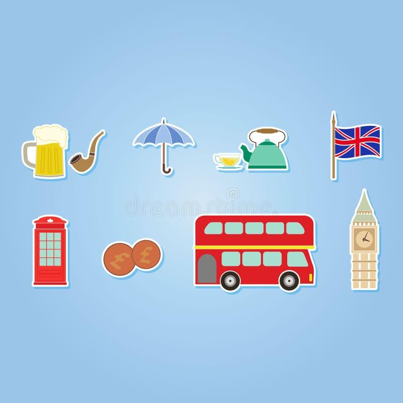 Färguppsättning med England symboler vektor illustrationer