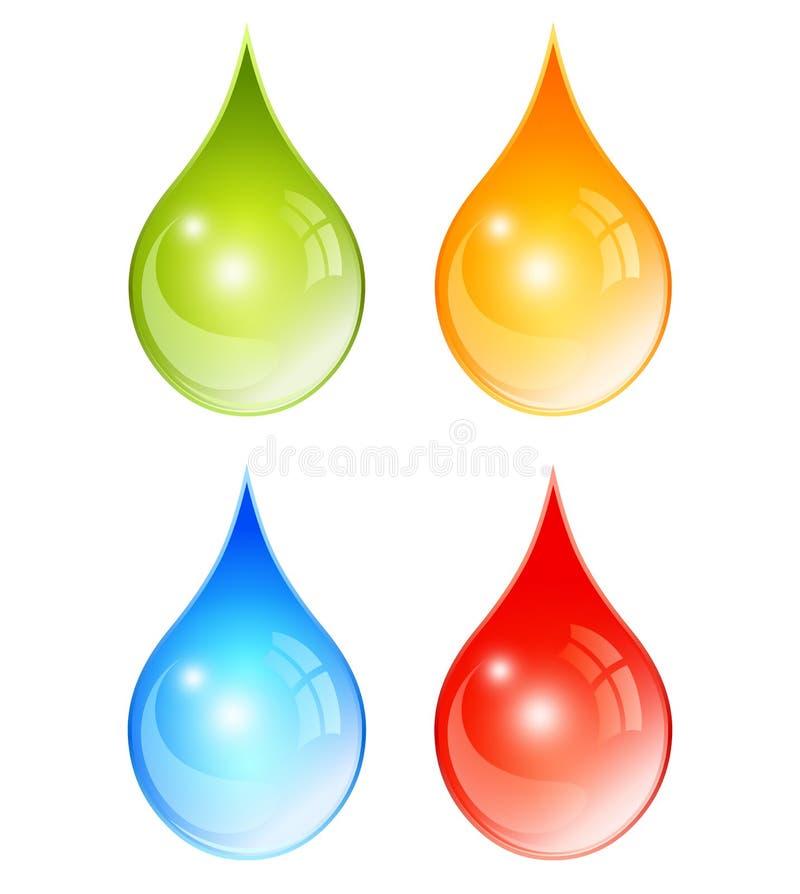 Färgvattendroppar stock illustrationer