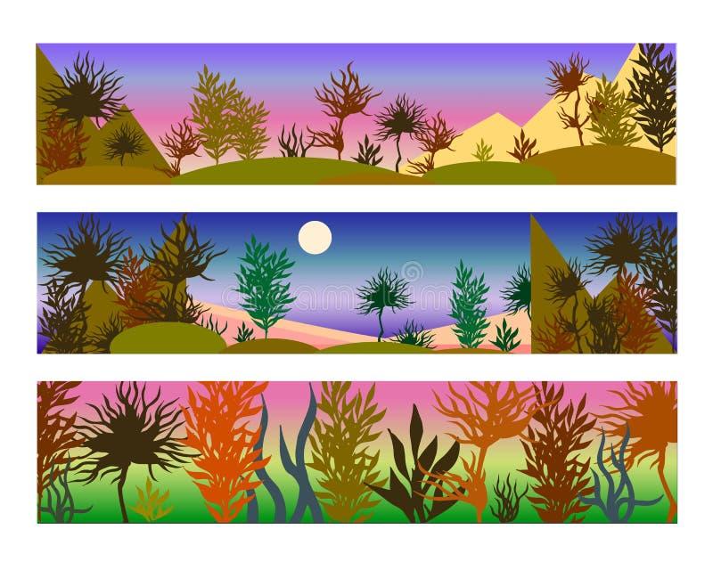 Färgvektorillustrationer av landskap i purpurfärgade och rosa färger royaltyfri illustrationer