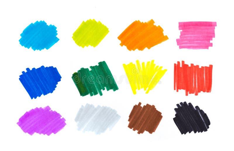 Färgviktigband, baner som dras med markörer Stilfulla viktigbeståndsdelar för design viktigmarkörslaglängd, ljusa fläckar arkivbilder