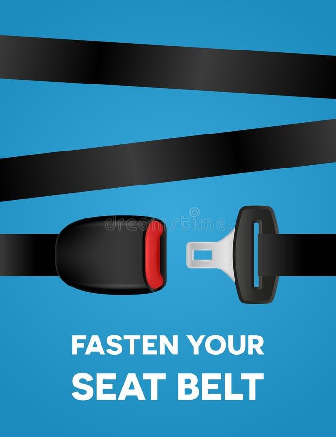 Fäst din säkerhetsbälte - social typografiaffisch Säker tur - idérikt baner för vektor på blå bakgrund stock illustrationer