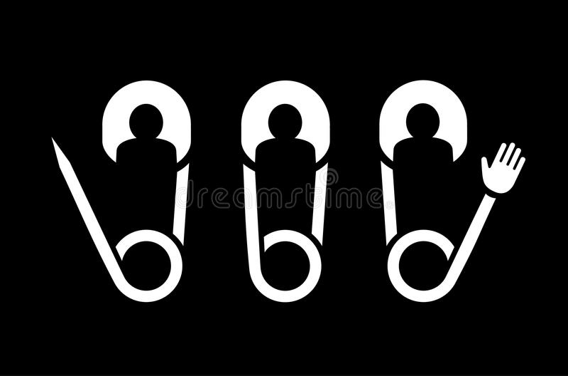 Fästa ihop idérika symboler för stiftfolklaget för logo vektor illustrationer