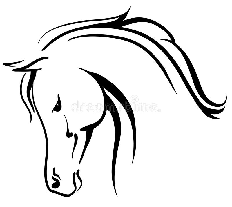 Arabisk häst stylised huvud stock illustrationer