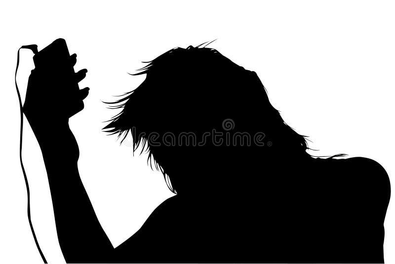 fästande ihop digital silhouette för spelare för flickamusikbana arkivfoto