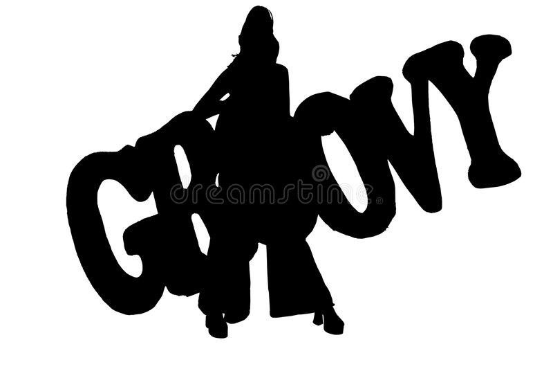 fästande ihop groovy banasilhouette royaltyfri illustrationer