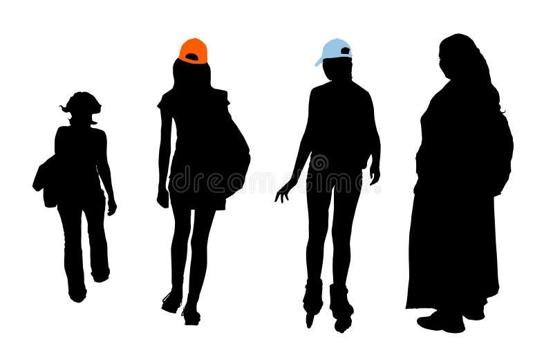 fästande ihop olika flickapathestyper stock illustrationer