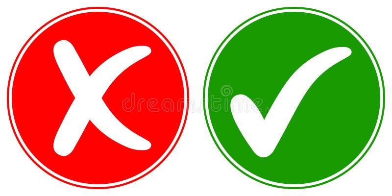 Fästing för symbolskontrollfläck och arg annullering, tecken för reko ord för vektorbegrepp godkänd och kasserad och INTE, stock illustrationer