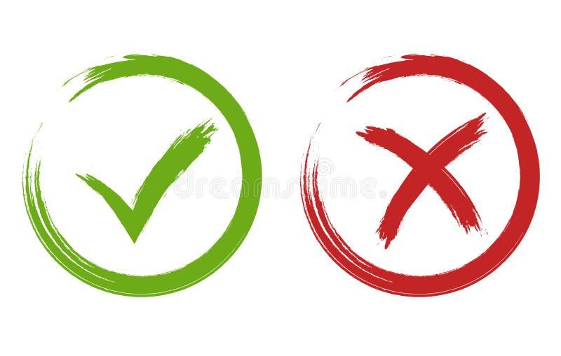 Fästing- och korstecken Grön och röd checkmarkvektor vektor illustrationer