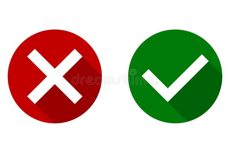 Fästing- och korstecken Ja och inte, reko grön checkmark och röda x-symboler som isoleras på vit bakgrund stock illustrationer