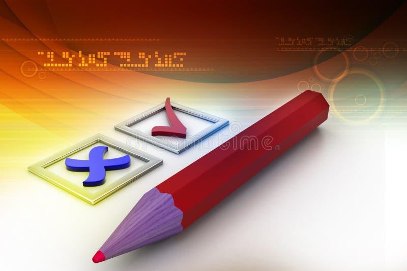fästingar i checkboxes och blyertspenna royaltyfri illustrationer