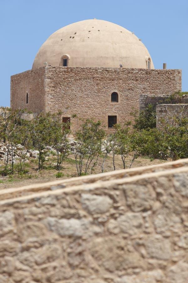 Fästning av Fortezza i Rethymno och moskén crete Grekland royaltyfria foton