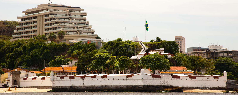 Fästning av Gragoata som ses från ett fartyg fotografering för bildbyråer