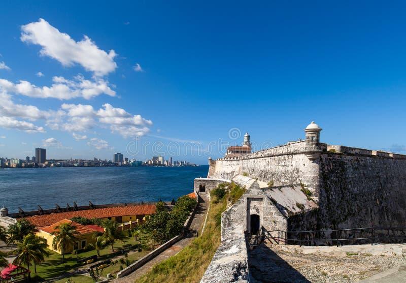 Fästning med kanoner och Havana Skyline arkivbilder