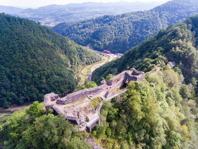 Fästning Poienari, Arefu, Arges län Rumänien arkivfoton
