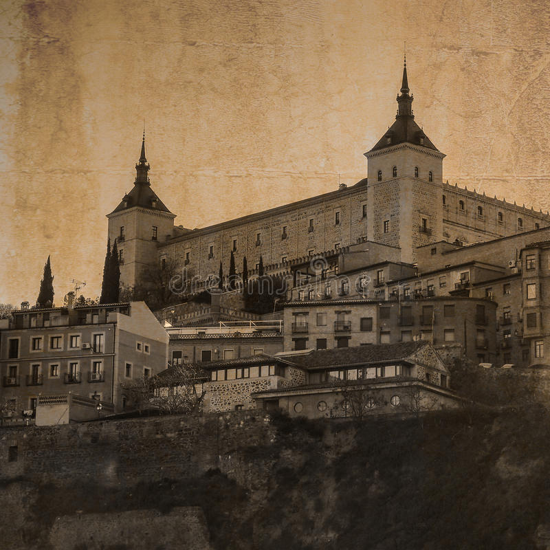 FästningAlcazar i Toledo, Castile, Spanien stock illustrationer