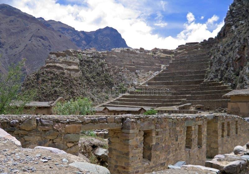 fästningincaollantaytambo peru arkivbilder