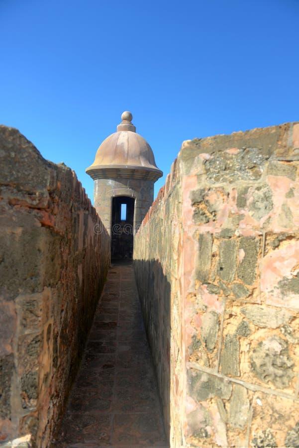 Fästningtorn i gamla San Juan Puerto Rico arkivbild