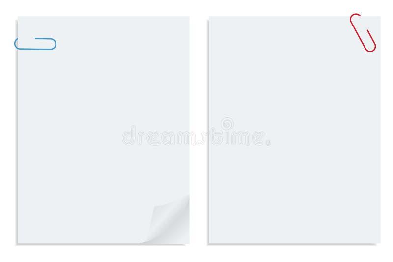 fästt ihop white för vektor för pappersark två vektor illustrationer