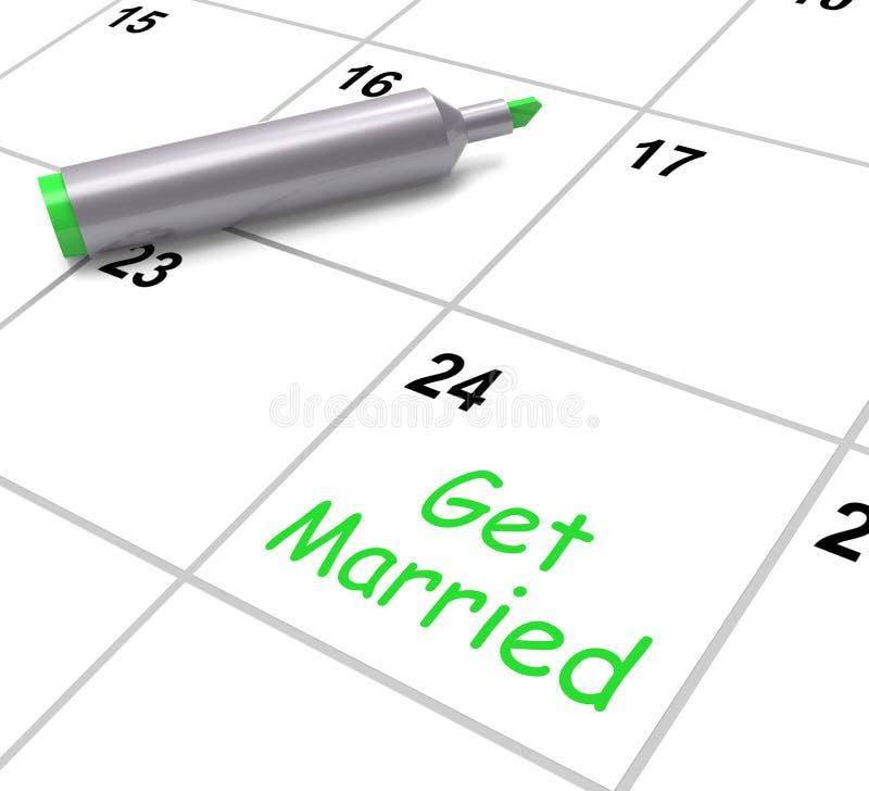 Få den gifta dagen för kalenderhjälpmedelbröllop och royaltyfri illustrationer