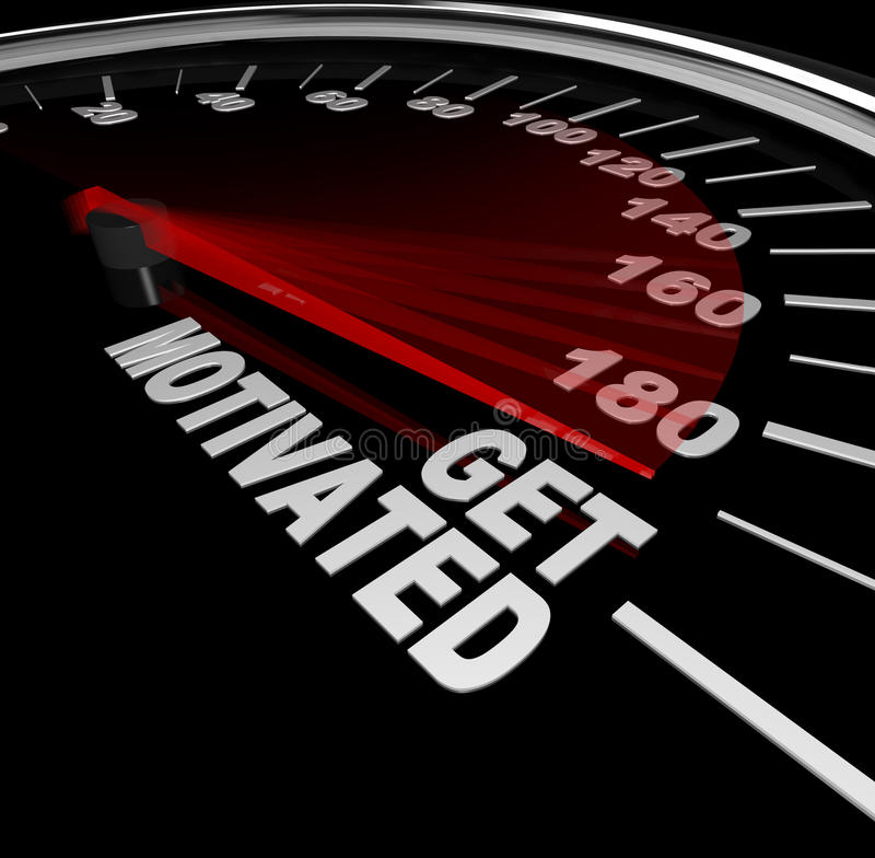 Få den motiverade upphetsade och uppmuntrade hastighetsmätaren stock illustrationer