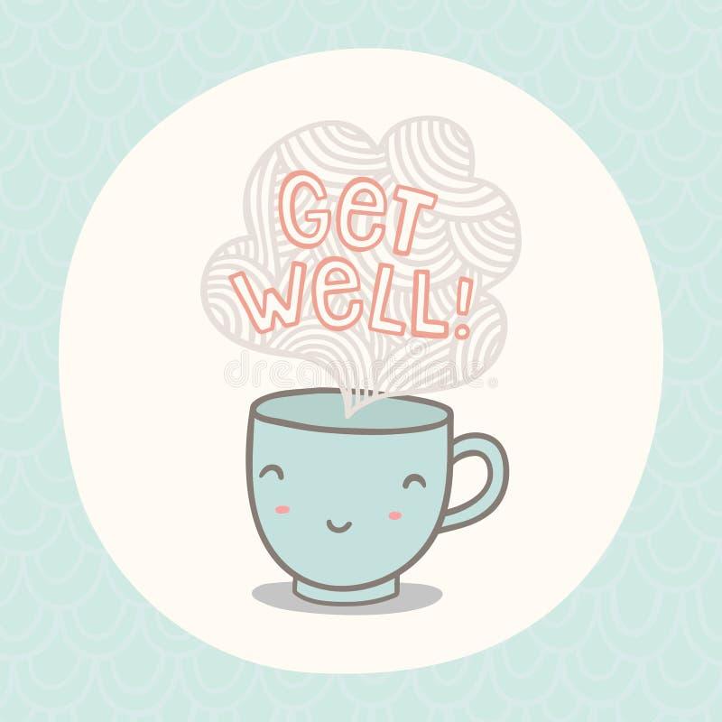 Få det väl hälsningkortet med den gulliga le koppen royaltyfri illustrationer