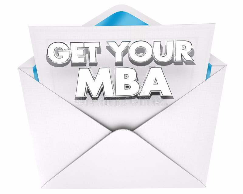 Få ditt kuvert 3d Illustra för administrationen för MBA förlageaffären royaltyfri illustrationer
