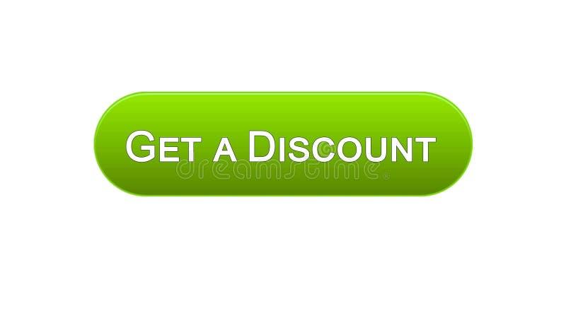 Få en knapp för rabattrengöringsdukmanöverenhet grön färg, online-shoppingapplikation stock illustrationer