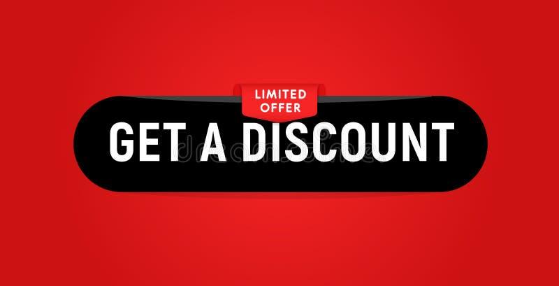 Få en knapp för rabattsvartrengöringsduk på röd bakgrund för rengöringsdukdesign, den svarta fredag försäljningen och andra rabat royaltyfri illustrationer