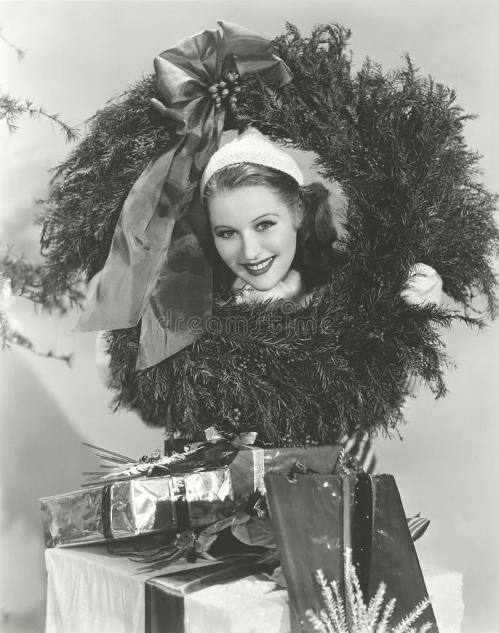 Få in i julanden arkivbild