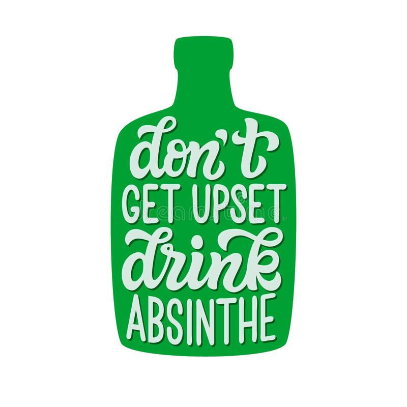 Få inte rubbningen, dricker absint stock illustrationer