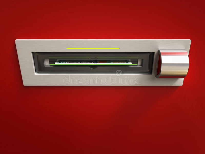 Få pengar från ATM vektor illustrationer